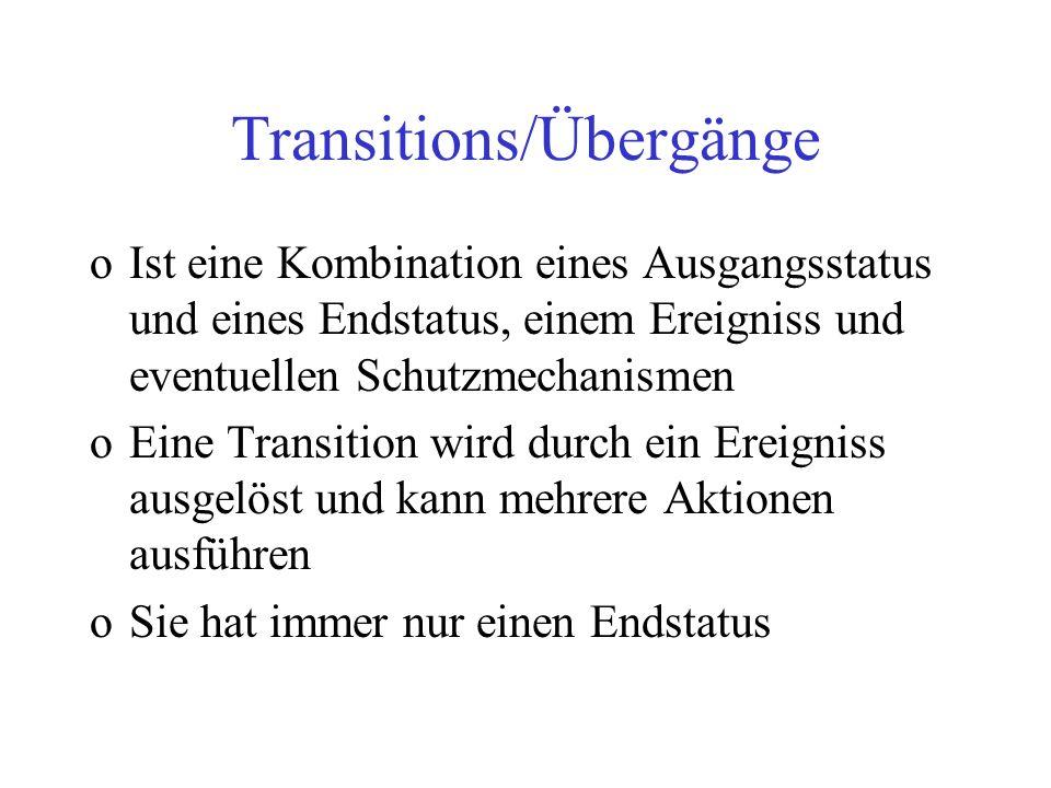Transitions/Übergänge oIst eine Kombination eines Ausgangsstatus und eines Endstatus, einem Ereigniss und eventuellen Schutzmechanismen oEine Transiti