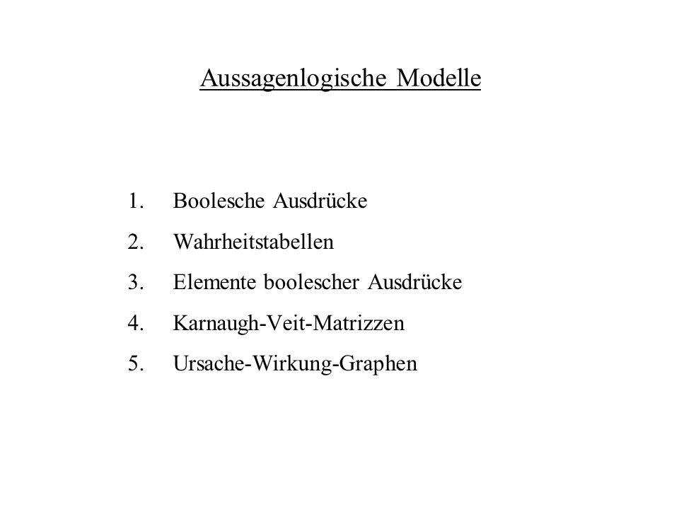 Aussagenlogische Modelle 1.Boolesche Ausdrücke 2.Wahrheitstabellen 3.Elemente boolescher Ausdrücke 4.Karnaugh-Veit-Matrizzen 5.Ursache-Wirkung-Graphen