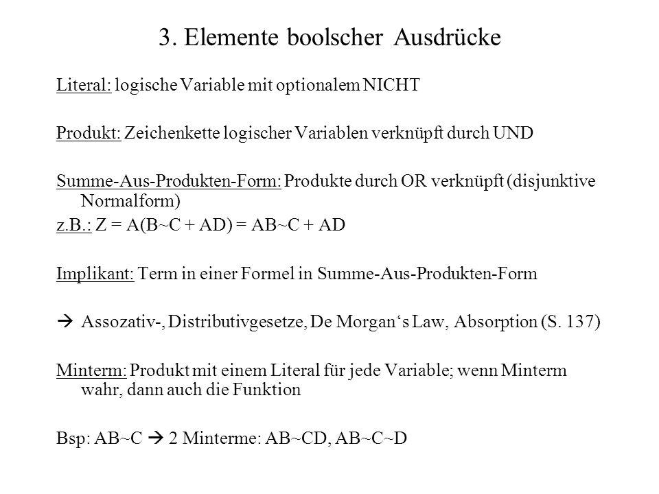 3. Elemente boolscher Ausdrücke Literal: logische Variable mit optionalem NICHT Produkt: Zeichenkette logischer Variablen verknüpft durch UND Summe-Au