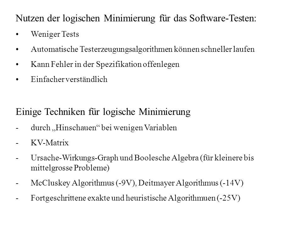 Nutzen der logischen Minimierung für das Software-Testen: Weniger Tests Automatische Testerzeugungsalgorithmen können schneller laufen Kann Fehler in