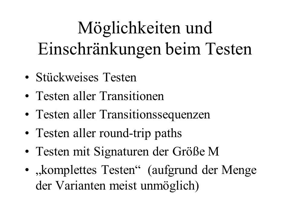 Möglichkeiten und Einschränkungen beim Testen Stückweises Testen Testen aller Transitionen Testen aller Transitionssequenzen Testen aller round-trip paths Testen mit Signaturen der Größe M komplettes Testen (aufgrund der Menge der Varianten meist unmöglich)