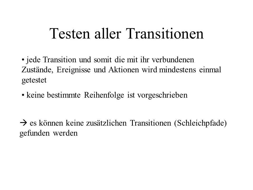 Testen aller Transitionen jede Transition und somit die mit ihr verbundenen Zustände, Ereignisse und Aktionen wird mindestens einmal getestet keine bestimmte Reihenfolge ist vorgeschrieben es können keine zusätzlichen Transitionen (Schleichpfade) gefunden werden