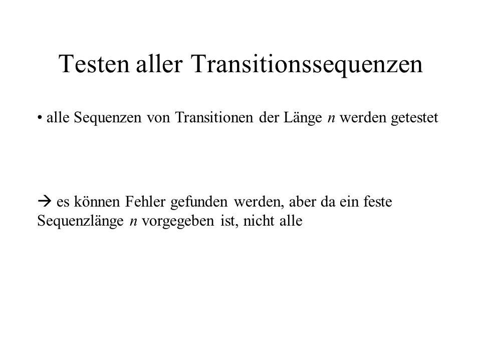 Testen aller Transitionssequenzen alle Sequenzen von Transitionen der Länge n werden getestet es können Fehler gefunden werden, aber da ein feste Sequenzlänge n vorgegeben ist, nicht alle