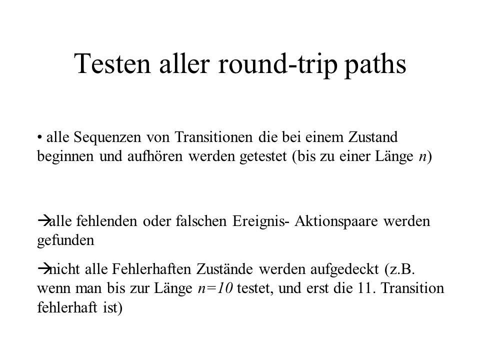 Testen aller round-trip paths alle Sequenzen von Transitionen die bei einem Zustand beginnen und aufhören werden getestet (bis zu einer Länge n) alle fehlenden oder falschen Ereignis- Aktionspaare werden gefunden nicht alle Fehlerhaften Zustände werden aufgedeckt (z.B.