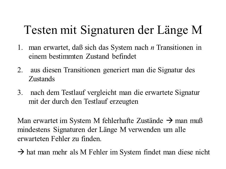 Testen mit Signaturen der Länge M 1.man erwartet, daß sich das System nach n Transitionen in einem bestimmten Zustand befindet 2.