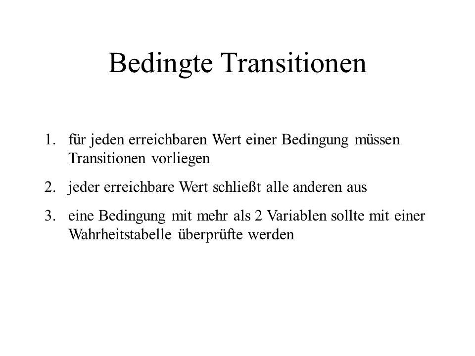 Bedingte Transitionen 1.für jeden erreichbaren Wert einer Bedingung müssen Transitionen vorliegen 2.jeder erreichbare Wert schließt alle anderen aus 3.eine Bedingung mit mehr als 2 Variablen sollte mit einer Wahrheitstabelle überprüfte werden