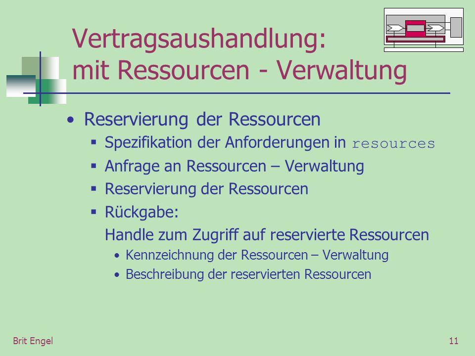 Brit Engel11 Vertragsaushandlung: mit Ressourcen - Verwaltung Reservierung der Ressourcen Spezifikation der Anforderungen in resources Anfrage an Ressourcen – Verwaltung Reservierung der Ressourcen Rückgabe: Handle zum Zugriff auf reservierte Ressourcen Kennzeichnung der Ressourcen – Verwaltung Beschreibung der reservierten Ressourcen