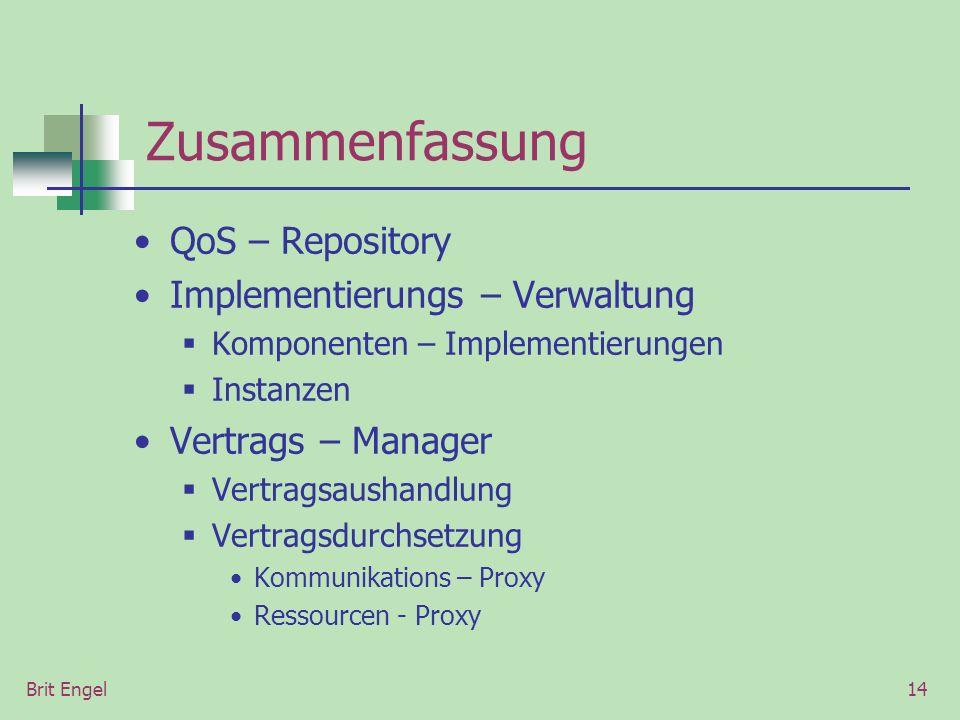 Brit Engel14 Zusammenfassung QoS – Repository Implementierungs – Verwaltung Komponenten – Implementierungen Instanzen Vertrags – Manager Vertragsausha