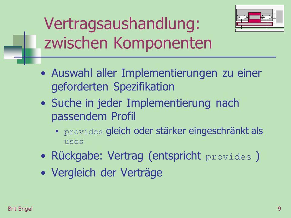 Brit Engel9 Vertragsaushandlung: zwischen Komponenten Auswahl aller Implementierungen zu einer geforderten Spezifikation Suche in jeder Implementierung nach passendem Profil provides gleich oder stärker eingeschränkt als uses Rückgabe: Vertrag (entspricht provides ) Vergleich der Verträge