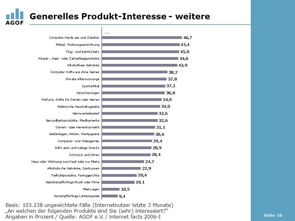 Seite 18 Generelles Produkt-Interesse - weitere Basis: 103.238 ungewichtete Fälle (Internetnutzer letzte 3 Monate) An welchen der folgenden Produkte sind Sie (sehr) interessiert.