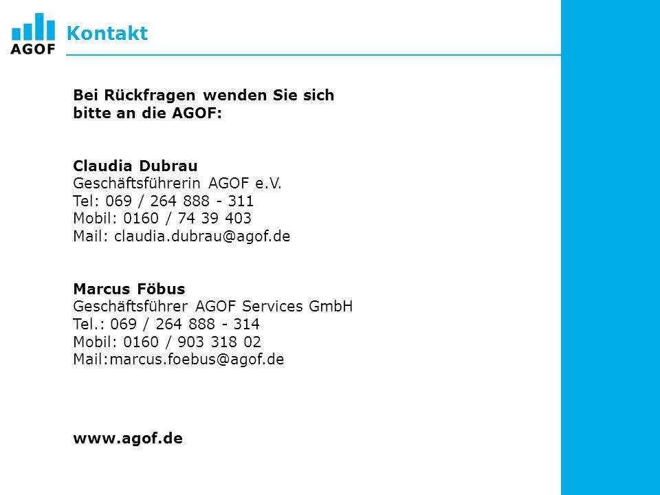 Kontakt Bei Rückfragen wenden Sie sich bitte an die AGOF: Claudia Dubrau Geschäftsführerin AGOF e.V.