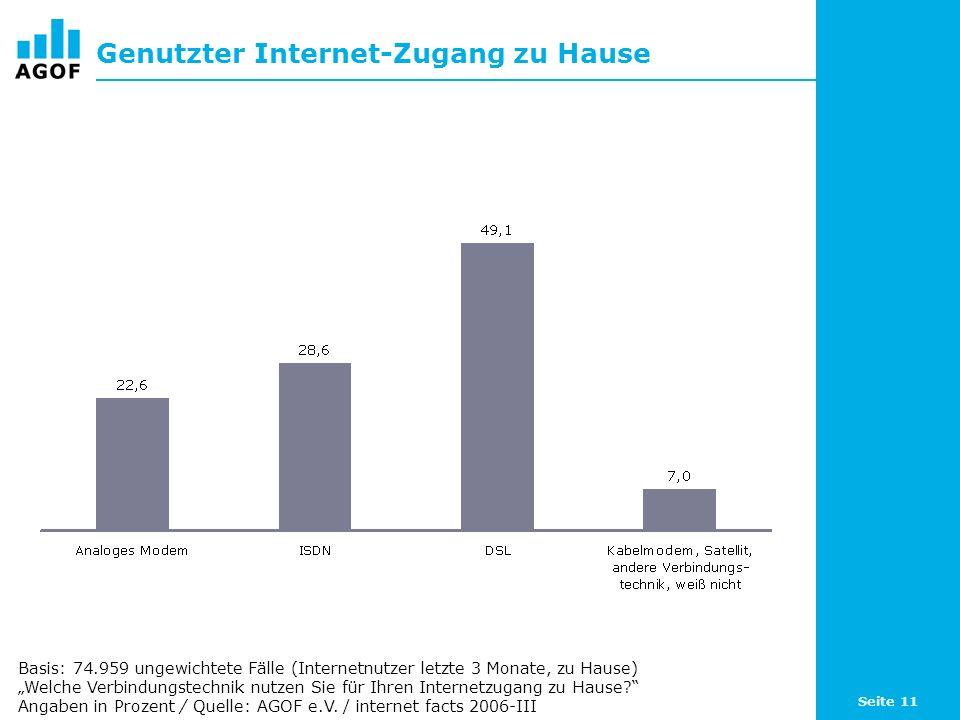 Seite 11 Genutzter Internet-Zugang zu Hause Basis: 74.959 ungewichtete Fälle (Internetnutzer letzte 3 Monate, zu Hause) Welche Verbindungstechnik nutzen Sie für Ihren Internetzugang zu Hause.