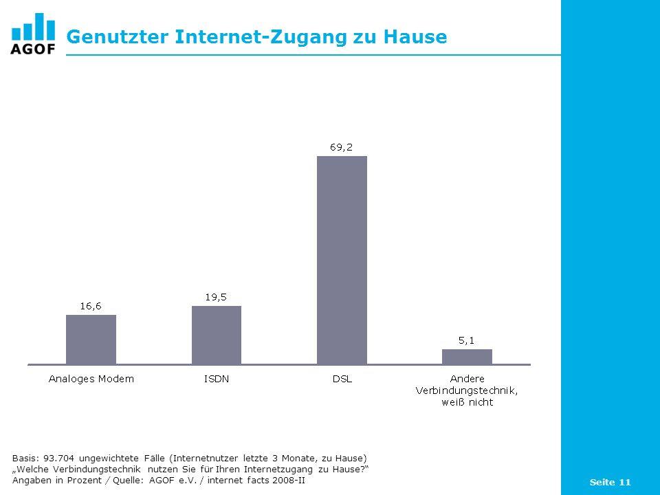 Seite 11 Genutzter Internet-Zugang zu Hause Basis: 93.704 ungewichtete Fälle (Internetnutzer letzte 3 Monate, zu Hause) Welche Verbindungstechnik nutzen Sie für Ihren Internetzugang zu Hause.