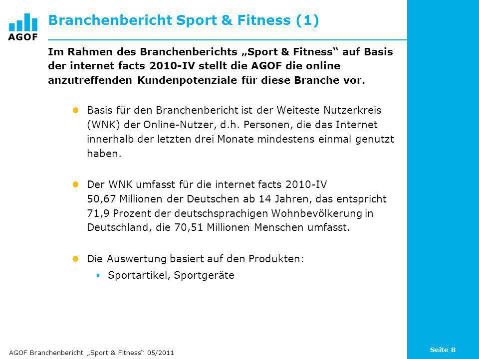 Seite 9 Branchenbericht Sport & Fitness (2) Untersucht werden die Potenziale für die Sportbranche innerhalb folgender Nutzergruppen: Generelles Produktinteresse an Sportartikeln Online-Informationssuche rund um Sportartikel Online-Kauf von Sportartikeln Online-Information UND Online-Kauf von Sportartikeln Für jede dieser Gruppen werden folgende Merkmale analysiert: Basispotenzial in Mio.