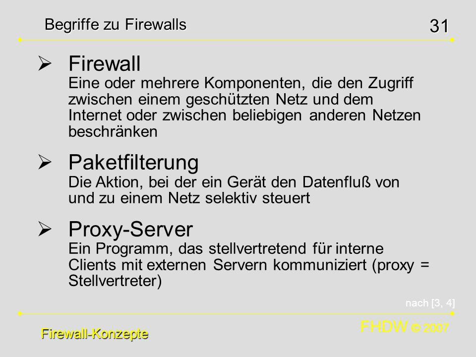 FHDW © 2007 31 Begriffe zu Firewalls Firewall-Konzepte Firewall Eine oder mehrere Komponenten, die den Zugriff zwischen einem geschützten Netz und dem