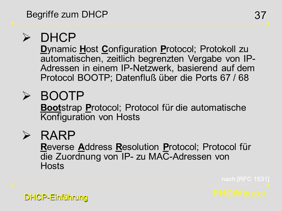 FHDW © 2007 37 Begriffe zum DHCP DHCP-Einführung DHCP Dynamic Host Configuration Protocol; Protokoll zu automatischen, zeitlich begrenzten Vergabe von