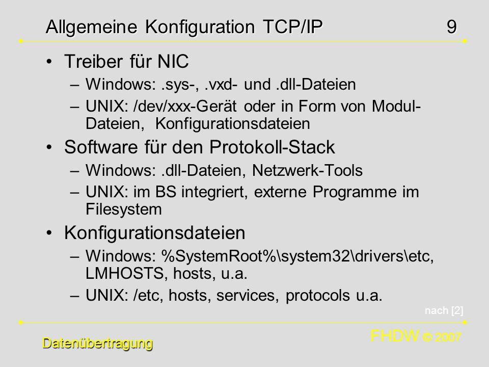 FHDW © 2007 9 Datenübertragung Allgemeine Konfiguration TCP/IP Treiber für NIC –Windows:.sys-,.vxd- und.dll-Dateien –UNIX: /dev/xxx-Gerät oder in Form