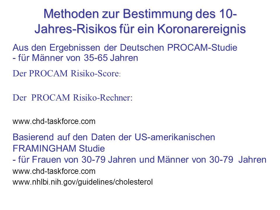 Methoden zur Bestimmung des 10- Jahres-Risikos für ein Koronarereignis Aus den Ergebnissen der Deutschen PROCAM-Studie - für Männer von 35-65 Jahren D