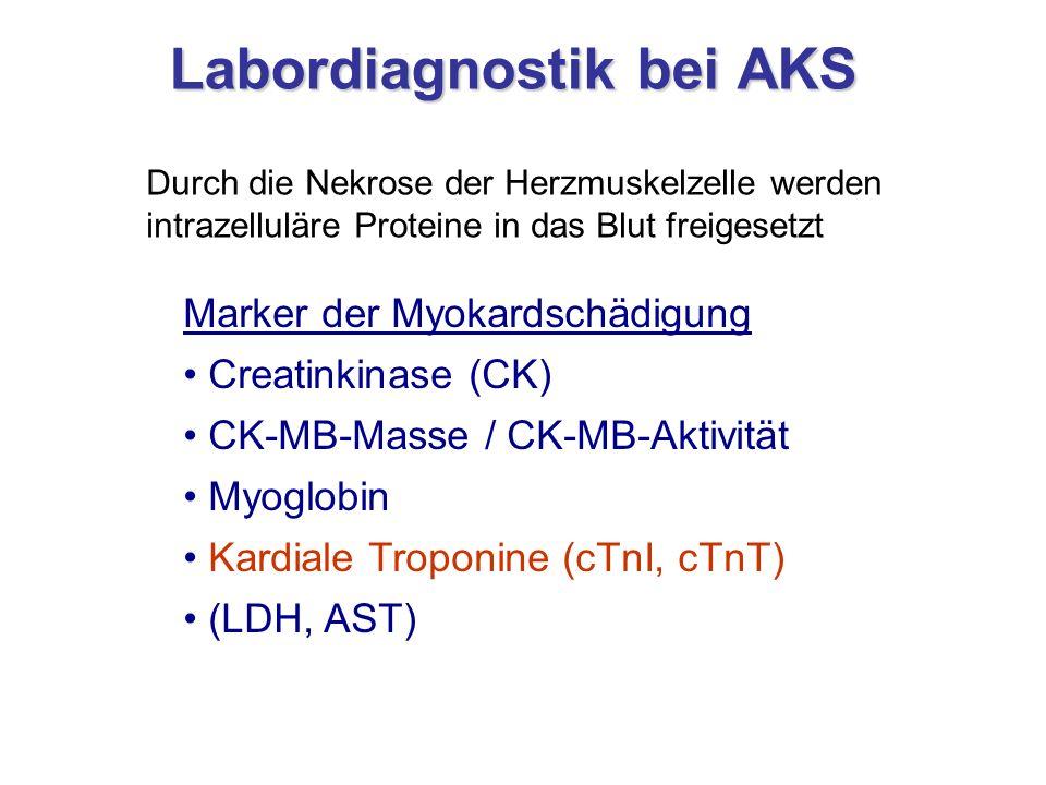 Labordiagnostik bei AKS Durch die Nekrose der Herzmuskelzelle werden intrazelluläre Proteine in das Blut freigesetzt Marker der Myokardschädigung Crea
