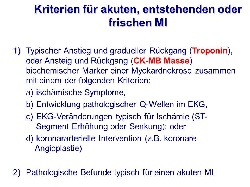 1) 1)Typischer Anstieg und gradueller Rückgang (Troponin), oder Ansteig und Rückgang (CK-MB Masse) biochemischer Marker einer Myokardnekrose zusammen