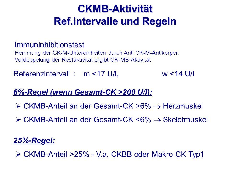 6%-Regel (wenn Gesamt-CK >200 U/l): CKMB-Anteil an der Gesamt-CK >6% Herzmuskel CKMB-Anteil an der Gesamt-CK <6% Skeletmuskel 25%-Regel: CKMB-Anteil >
