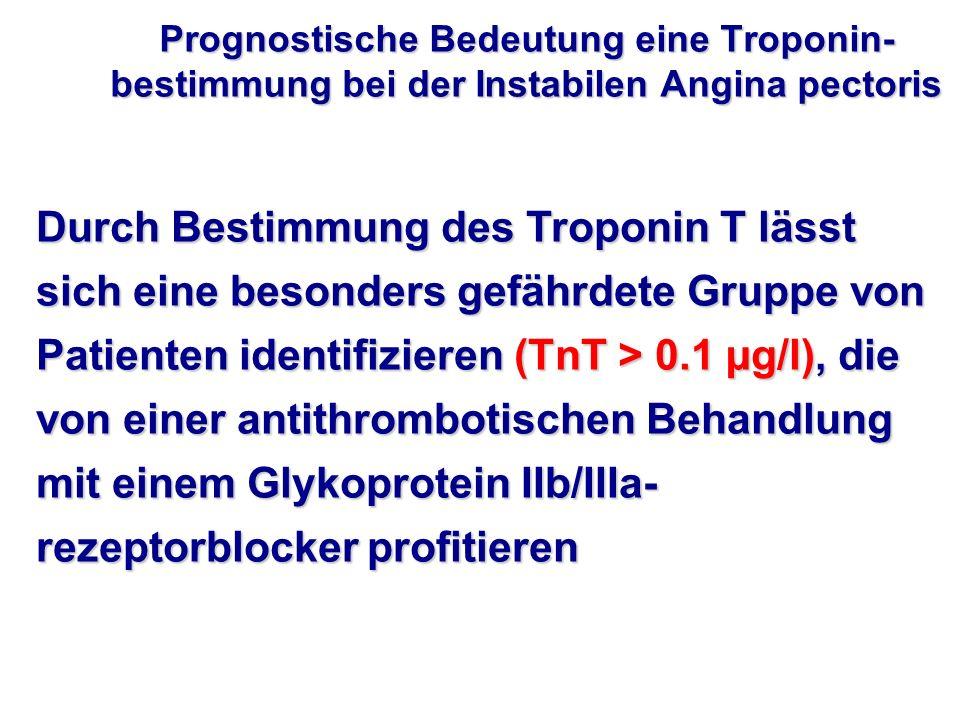 Durch Bestimmung des Troponin T lässt sich eine besonders gefährdete Gruppe von Patienten identifizieren (TnT > 0.1 µg/l), die von einer antithromboti