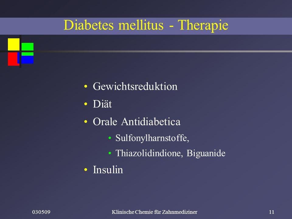 030509Klinische Chemie für Zahnmediziner11 Diabetes mellitus - Therapie Gewichtsreduktion Diät Orale Antidiabetica Sulfonylharnstoffe, Thiazolidindion