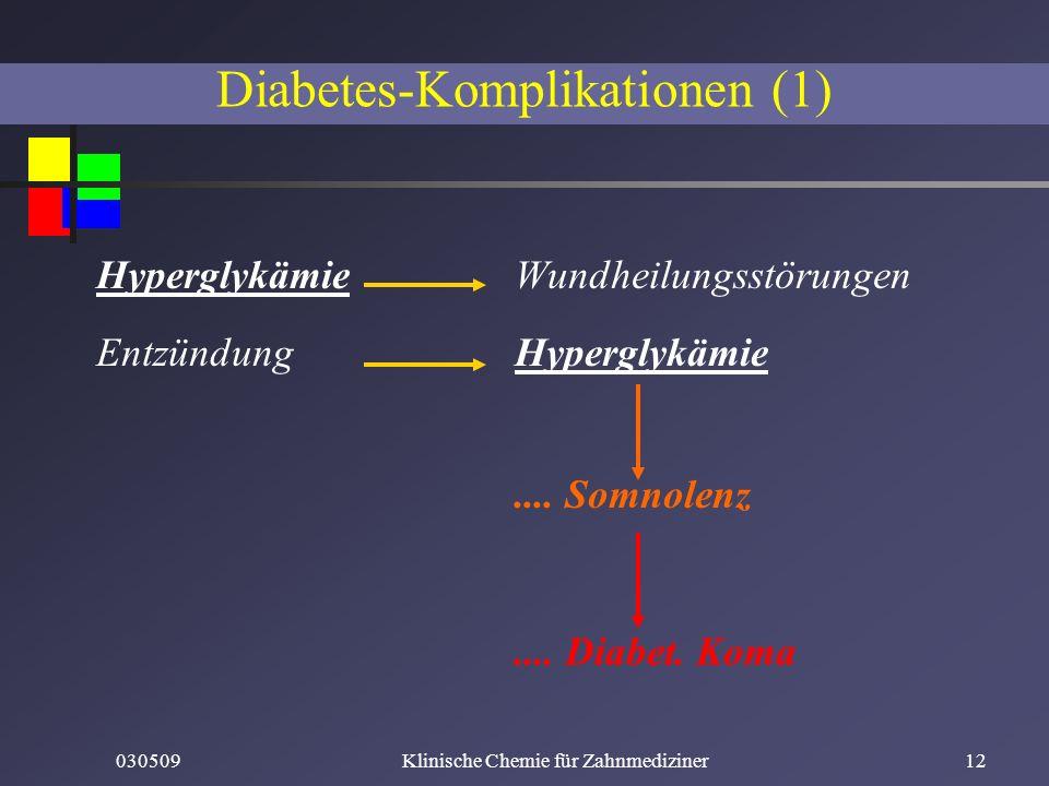 030509Klinische Chemie für Zahnmediziner12 Hyperglykämie Wundheilungsstörungen Entzündung Hyperglykämie.... Somnolenz.... Diabet. Koma Diabetes-Kompli