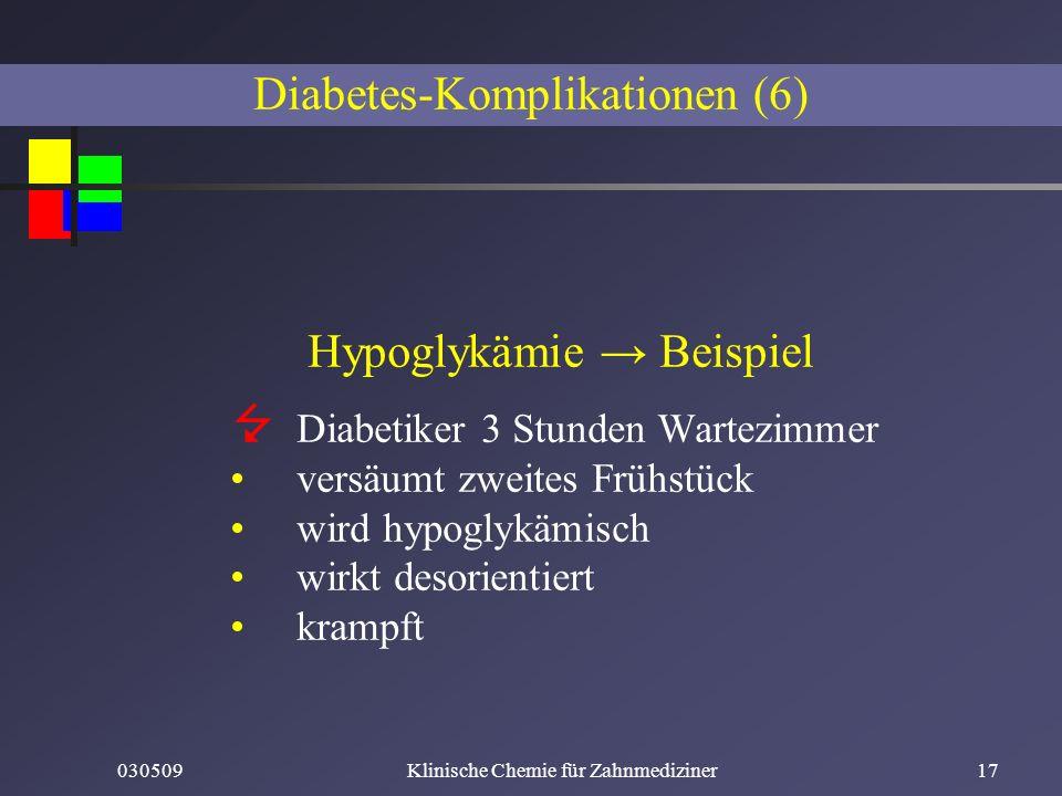030509Klinische Chemie für Zahnmediziner17 Hypoglykämie Beispiel Diabetiker 3 Stunden Wartezimmer versäumt zweites Frühstück wird hypoglykämisch wirkt