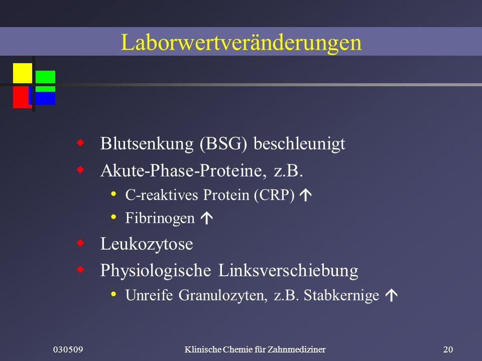 030509Klinische Chemie für Zahnmediziner20 Laborwertveränderungen Blutsenkung (BSG) beschleunigt Akute-Phase-Proteine, z.B. C-reaktives Protein (CRP)