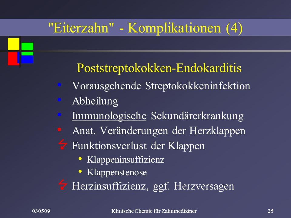 030509Klinische Chemie für Zahnmediziner25 Poststreptokokken-Endokarditis Vorausgehende Streptokokkeninfektion Abheilung Immunologische Sekundärerkran