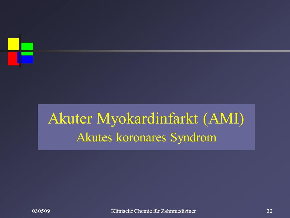 030509Klinische Chemie für Zahnmediziner32 Akuter Myokardinfarkt (AMI) Akutes koronares Syndrom