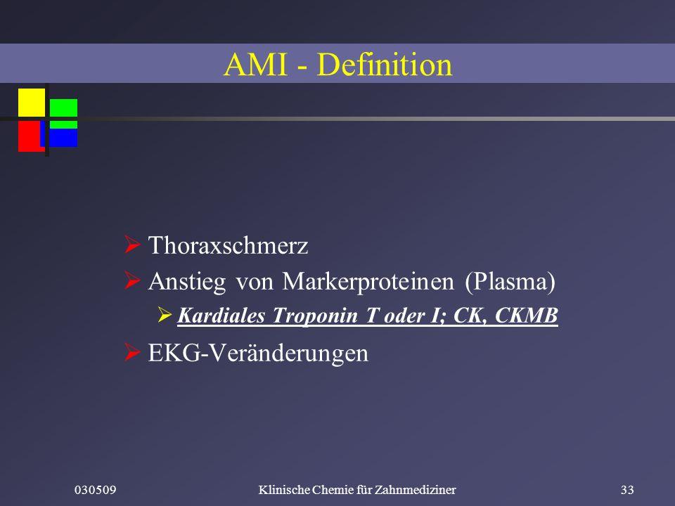 030509Klinische Chemie für Zahnmediziner33 Thoraxschmerz Anstieg von Markerproteinen (Plasma) Kardiales Troponin T oder I; CK, CKMB EKG-Veränderungen