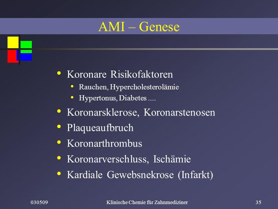 030509Klinische Chemie für Zahnmediziner35 Koronare Risikofaktoren Rauchen, Hypercholesterolämie Hypertonus, Diabetes.... Koronarsklerose, Koronarsten