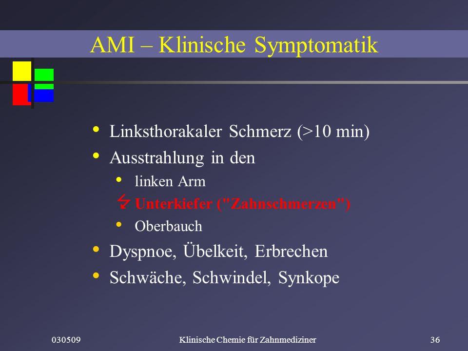 030509Klinische Chemie für Zahnmediziner36 Linksthorakaler Schmerz (>10 min) Ausstrahlung in den linken Arm Unterkiefer (