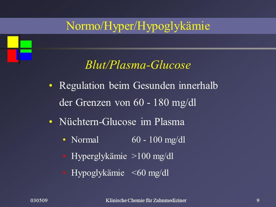 030509Klinische Chemie für Zahnmediziner9 Normo/Hyper/Hypoglykämie Blut/Plasma-Glucose Regulation beim Gesunden innerhalb der Grenzen von 60 - 180 mg/