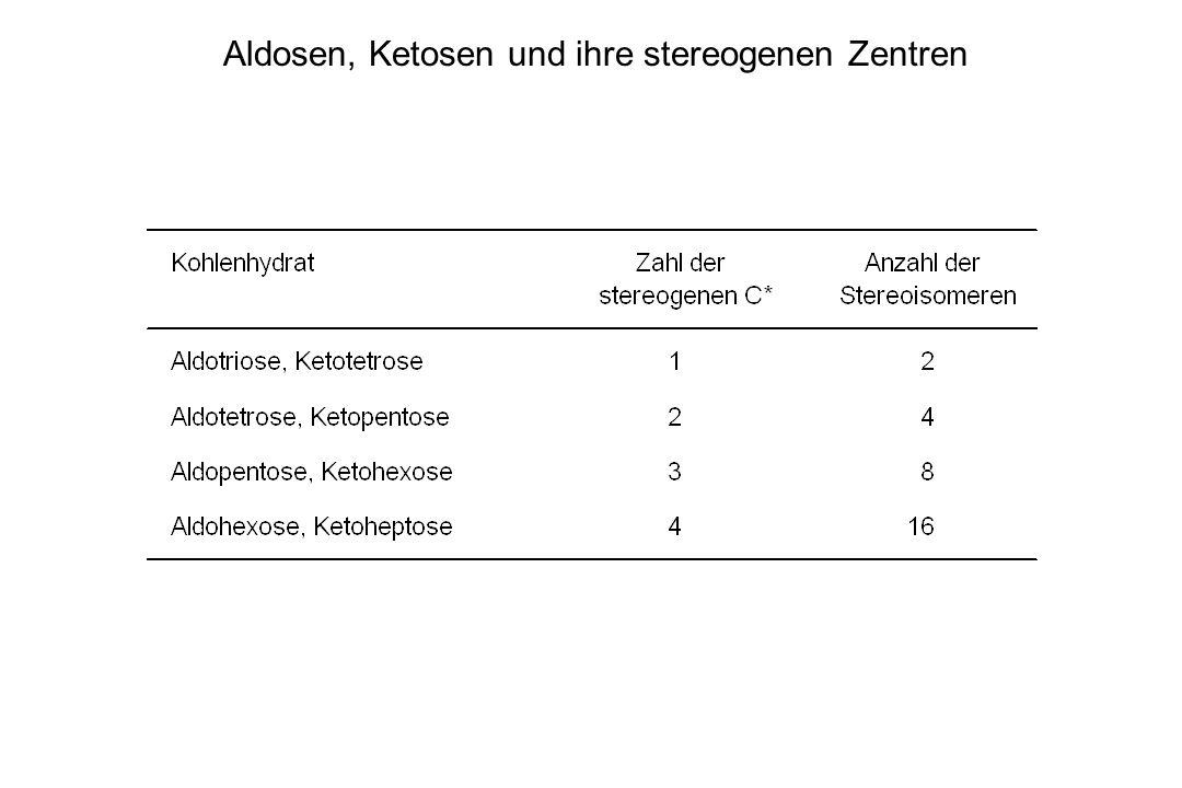 Aldosen, Ketosen und ihre stereogenen Zentren