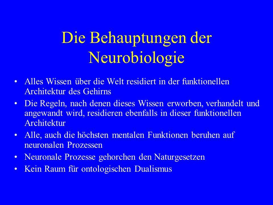 Die Behauptungen der Neurobiologie Alles Wissen über die Welt residiert in der funktionellen Architektur des Gehirns Die Regeln, nach denen dieses Wis
