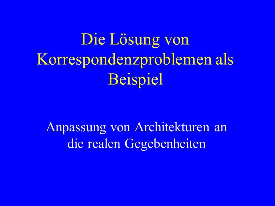 Die Lösung von Korrespondenzproblemen als Beispiel Anpassung von Architekturen an die realen Gegebenheiten