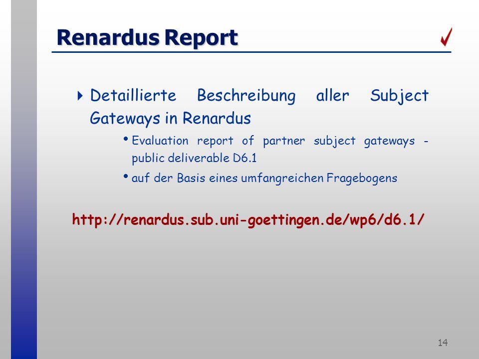 14 Renardus Report Detaillierte Beschreibung aller Subject Gateways in Renardus Evaluation report of partner subject gateways - public deliverable D6.1 auf der Basis eines umfangreichen Fragebogenshttp://renardus.sub.uni-goettingen.de/wp6/d6.1/