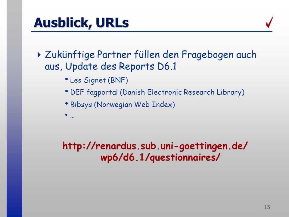 15 Ausblick, URLs Zukünftige Partner füllen den Fragebogen auch aus, Update des Reports D6.1 Les Signet (BNF) DEF fagportal (Danish Electronic Research Library) Bibsys (Norwegian Web Index)...