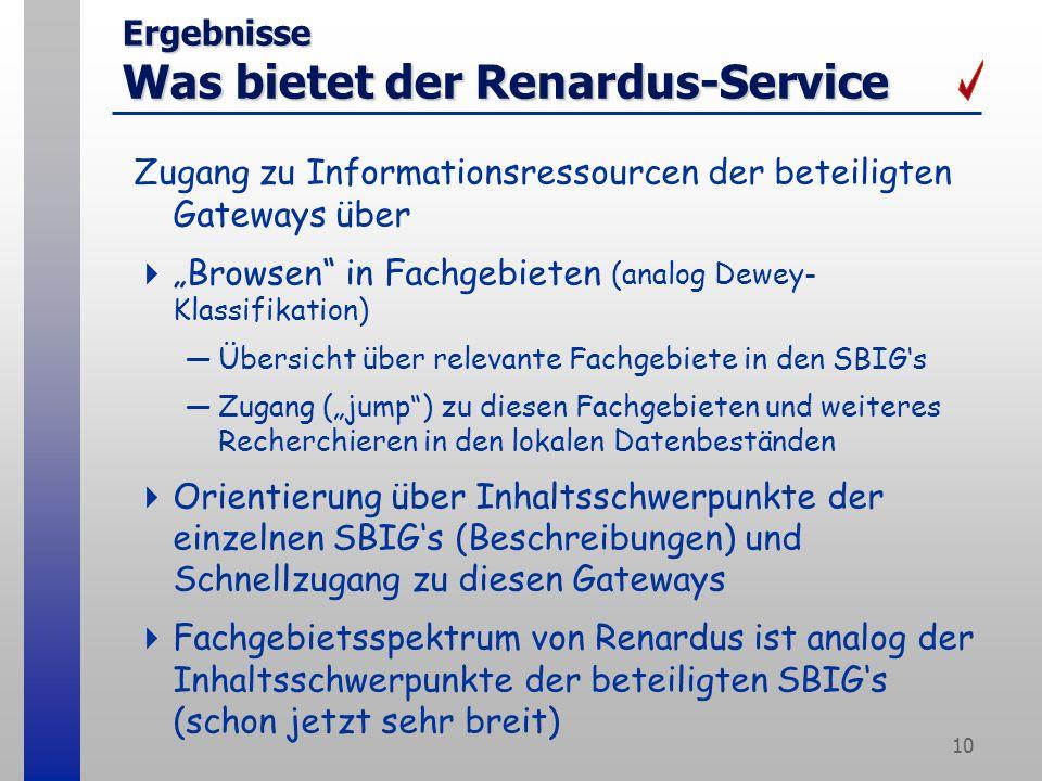 10 Ergebnisse Was bietet der Renardus-Service Zugang zu Informationsressourcen der beteiligten Gateways über Browsen in Fachgebieten (analog Dewey- Klassifikation) Übersicht über relevante Fachgebiete in den SBIGs Zugang (jump) zu diesen Fachgebieten und weiteres Recherchieren in den lokalen Datenbeständen Orientierung über Inhaltsschwerpunkte der einzelnen SBIGs (Beschreibungen) und Schnellzugang zu diesen Gateways Fachgebietsspektrum von Renardus ist analog der Inhaltsschwerpunkte der beteiligten SBIGs (schon jetzt sehr breit)