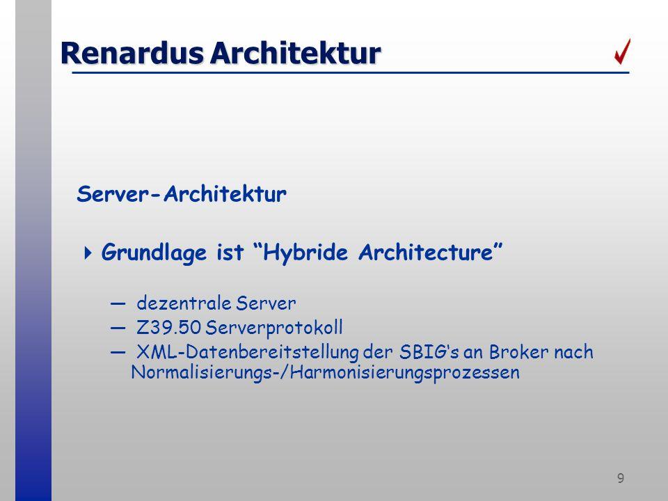 9 Renardus Architektur Server-Architektur Grundlage ist Hybride Architecture dezentrale Server Z39.50 Serverprotokoll XML-Datenbereitstellung der SBIGs an Broker nach Normalisierungs-/Harmonisierungsprozessen