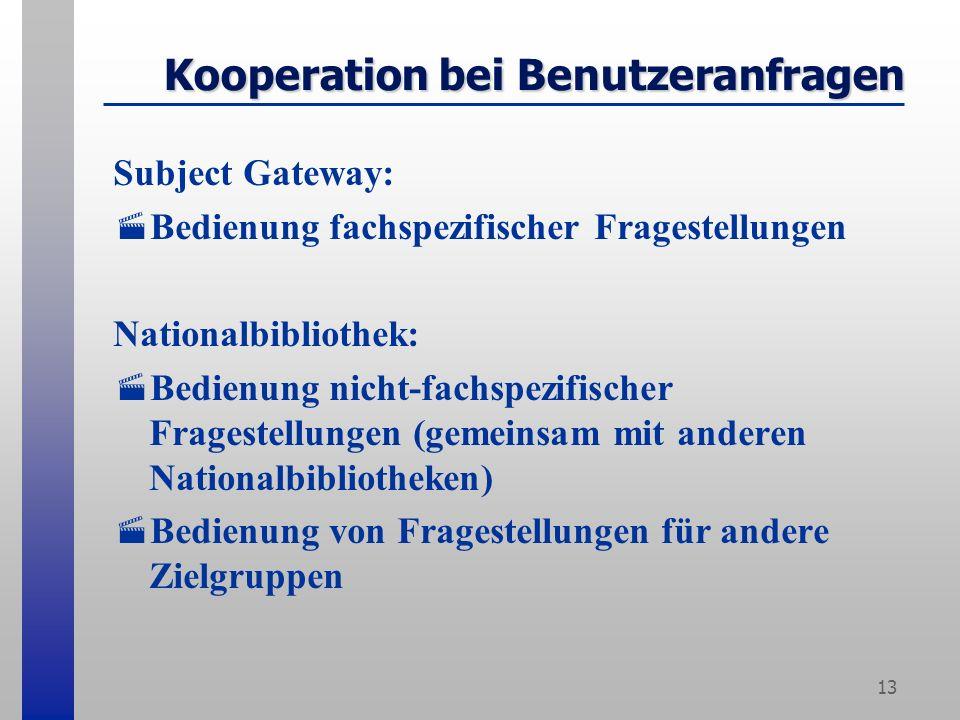 13 Kooperation bei Benutzeranfragen Subject Gateway: Bedienung fachspezifischer Fragestellungen Nationalbibliothek: Bedienung nicht-fachspezifischer Fragestellungen (gemeinsam mit anderen Nationalbibliotheken) Bedienung von Fragestellungen für andere Zielgruppen