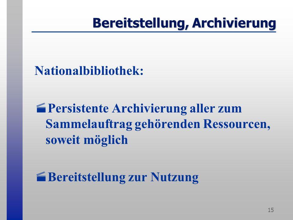 15 Bereitstellung, Archivierung Nationalbibliothek: Persistente Archivierung aller zum Sammelauftrag gehörenden Ressourcen, soweit möglich Bereitstellung zur Nutzung
