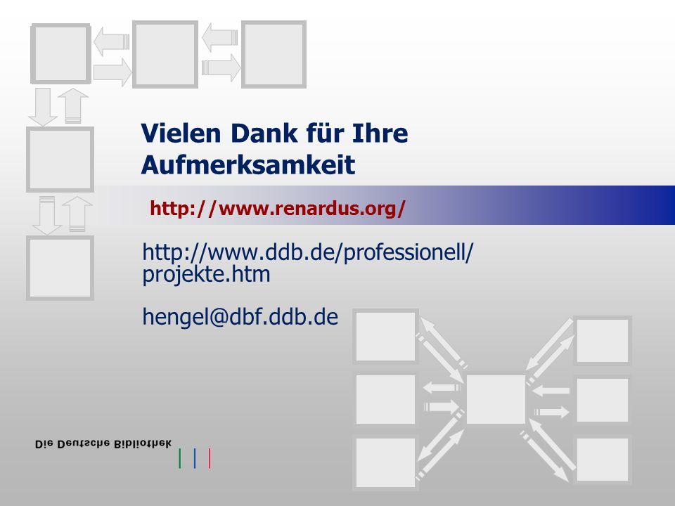 Vielen Dank für Ihre Aufmerksamkeit http://www.ddb.de/professionell/ projekte.htm hengel@dbf.ddb.de http://www.renardus.org/