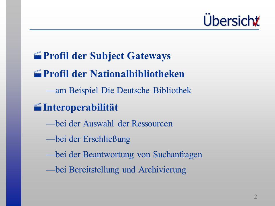 2 Übersicht Profil der Subject Gateways Profil der Nationalbibliotheken am Beispiel Die Deutsche Bibliothek Interoperabilität bei der Auswahl der Ressourcen bei der Erschließung bei der Beantwortung von Suchanfragen bei Bereitstellung und Archivierung
