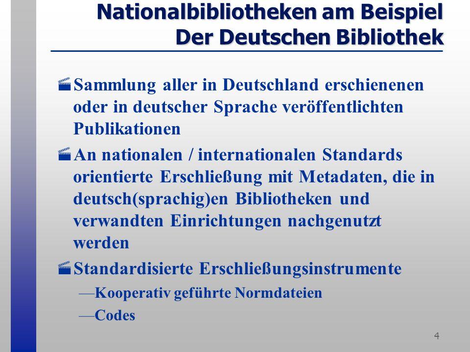 4 Nationalbibliotheken am Beispiel Der Deutschen Bibliothek Sammlung aller in Deutschland erschienenen oder in deutscher Sprache veröffentlichten Publikationen An nationalen / internationalen Standards orientierte Erschließung mit Metadaten, die in deutsch(sprachig)en Bibliotheken und verwandten Einrichtungen nachgenutzt werden Standardisierte Erschließungsinstrumente Kooperativ geführte Normdateien Codes