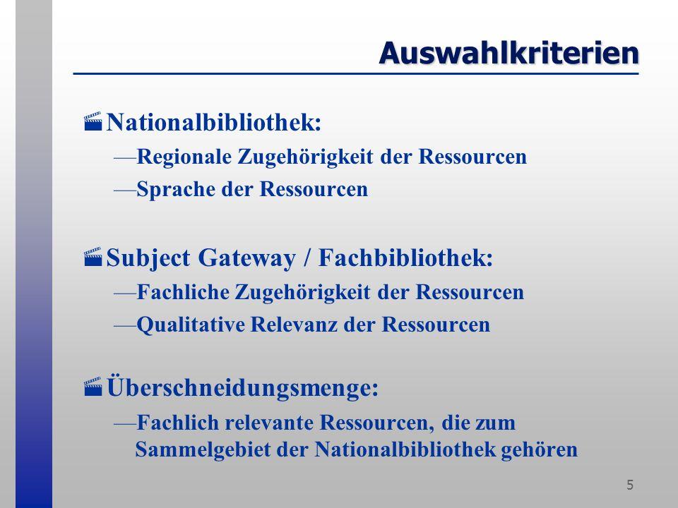 5 Auswahlkriterien Nationalbibliothek: Regionale Zugehörigkeit der Ressourcen Sprache der Ressourcen Subject Gateway / Fachbibliothek: Fachliche Zugehörigkeit der Ressourcen Qualitative Relevanz der Ressourcen Überschneidungsmenge: Fachlich relevante Ressourcen, die zum Sammelgebiet der Nationalbibliothek gehören