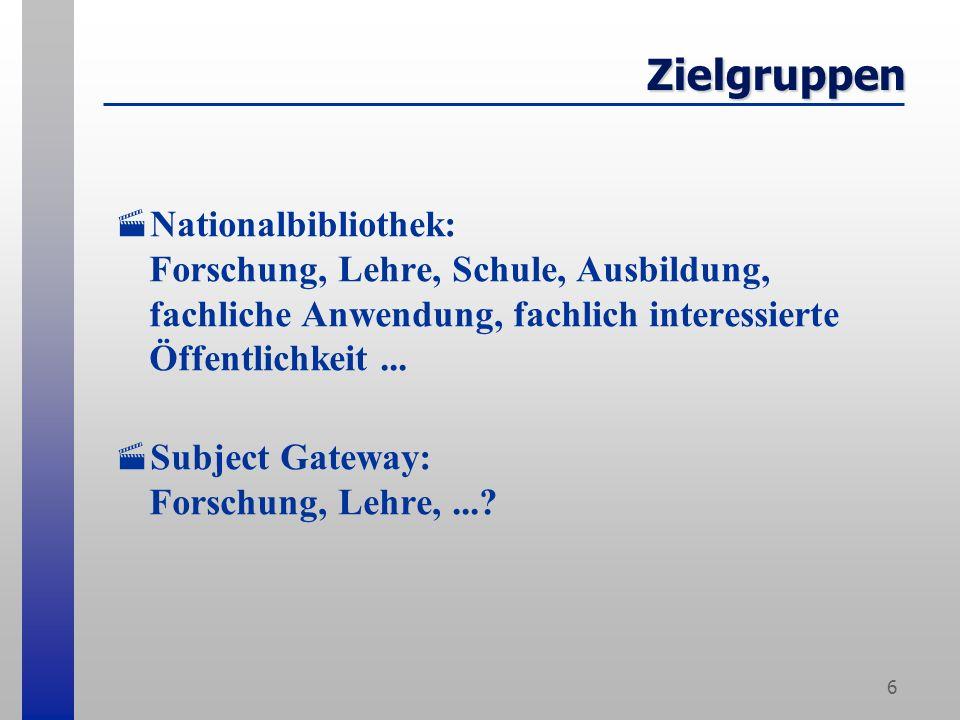 6 Zielgruppen Nationalbibliothek: Forschung, Lehre, Schule, Ausbildung, fachliche Anwendung, fachlich interessierte Öffentlichkeit...